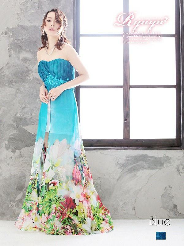 和花柄ミニinシフォンロングドレス ryuyu リューユ 癒レース前ミニ華和柄キャバロングドレス