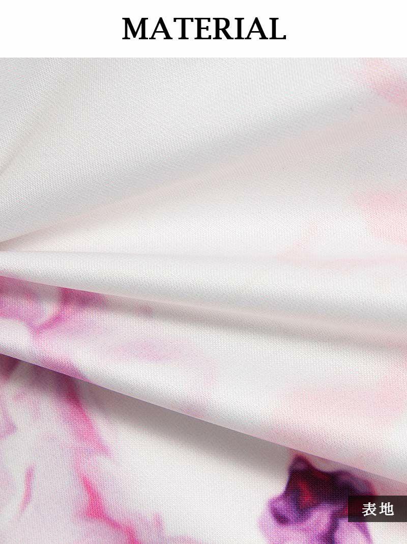 フレアーシフォン袖付き水彩花柄ミニドレス【Ryuyu】【リューユ】ストレッチキャバクラドレス