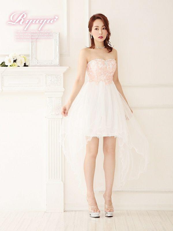 美姫ロングテール!ふわメッシュレースロングドレス【Ryuyu】【リューユ】前ミニキャバクラロングドレス