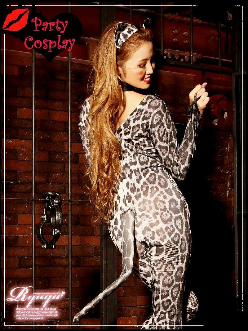 【即納】【キャバコスプレ3点セット】SEXY!豹柄キャットウーマンコスプレセット 女豹ボンテージコスチューム イベントやハロウィンに♪