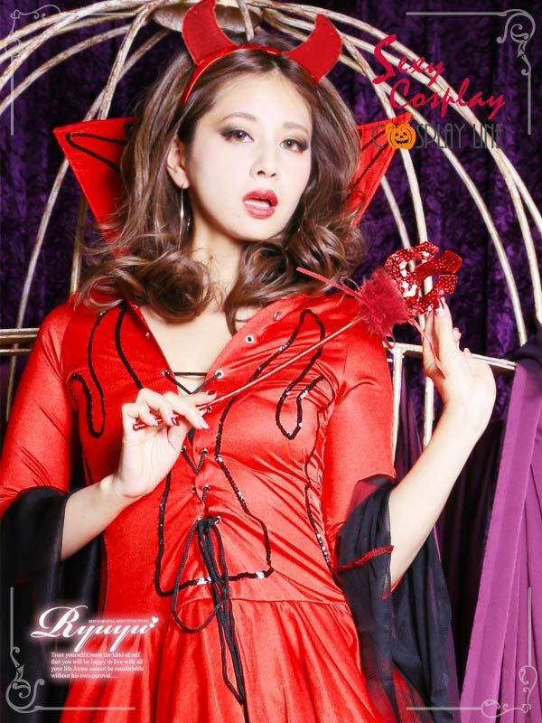 【即納】【キャバコスプレ!!】甘辛コーデ♪小悪魔デビルコスプレ3点SET コスプレ キャバ嬢
