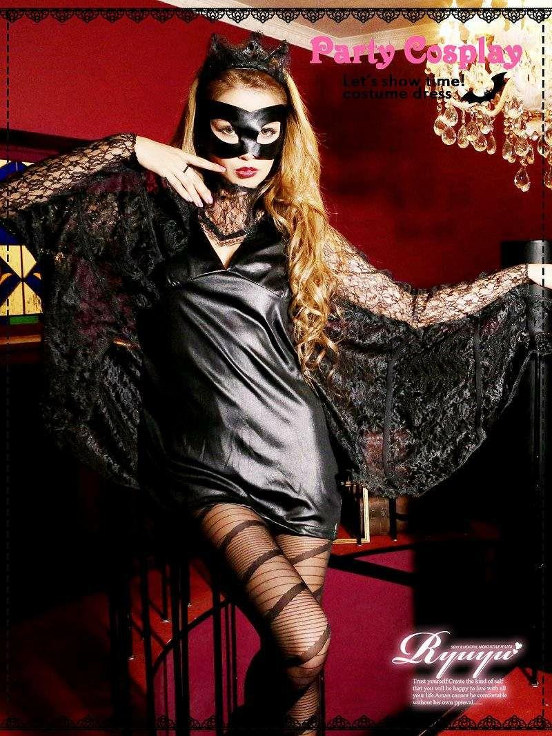 【即納】【キャバコスプレ4点セット】sexyバットガールコスプレセット 悪役仮装 イベントやハロウィンに♪