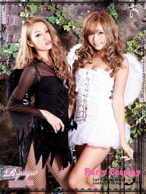 【即納】【キャバコスプレ!!】堕天使!小悪魔devil透けレースBig羽付きコスプレ3点SET