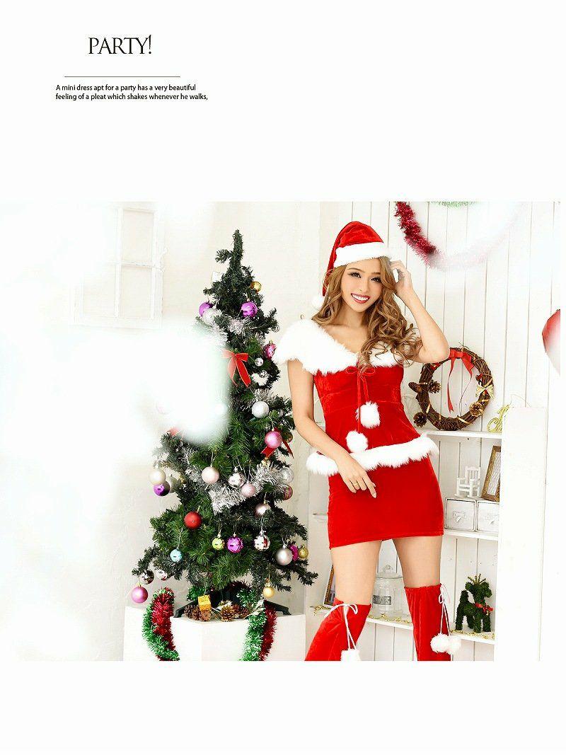 【即納】【サンタコスプレ3点set】ふわふわゴージャスファーペプラムサンタドレス キャバクライベントやクリスマスパーティーに◎