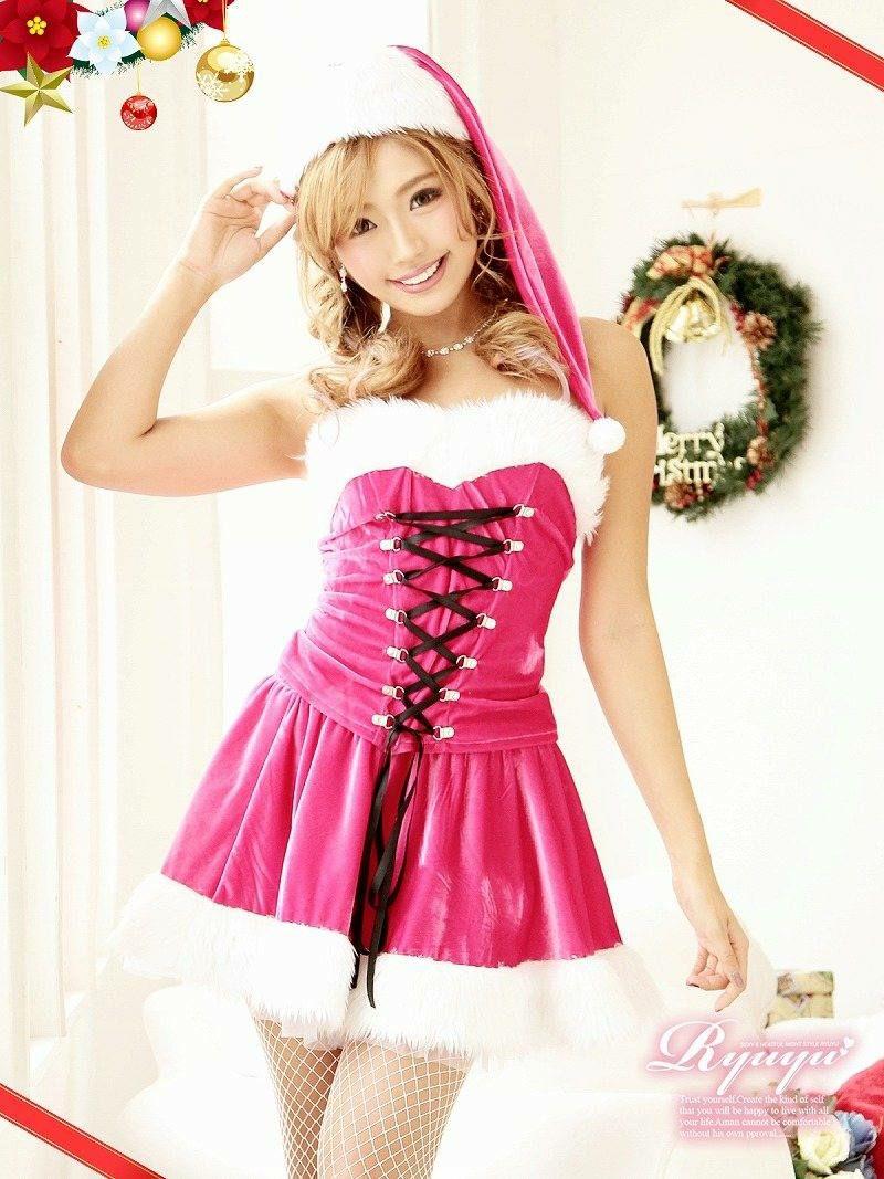 Lサイズ追加!【即納】【キャバサンタ3点セット】ベアスピンドル2ピースピンクサンタコスプレ おそろいコーデ◎なクリスマス衣装