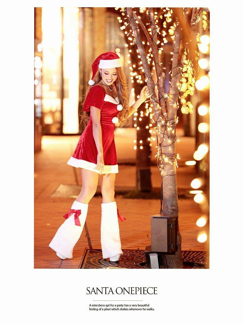 【即納】 Lサイズ追加!3点set!乙女なフレアー袖付で愛されサンタワンピ サンタコスプレコスチューム