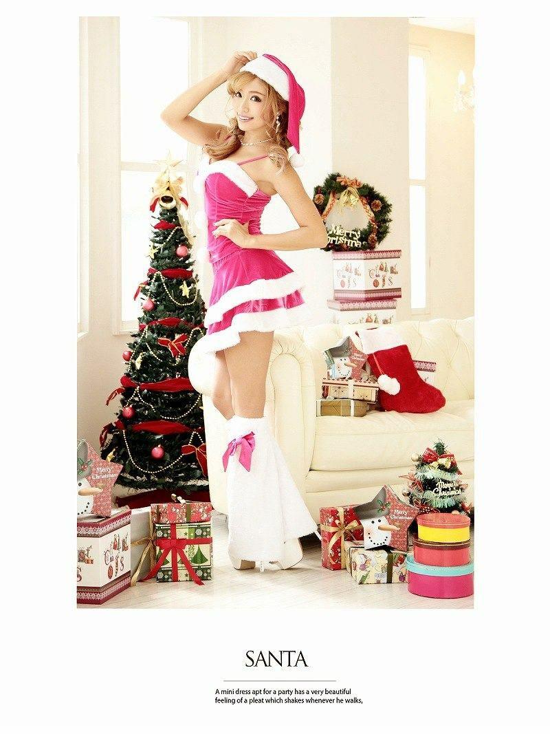 【即納】【キャバサンタ4点set】クリスマスピンクサンタ 二段フリルふわモコ2ピースサンタドレス  ファーレッグ付サンタコスプレ