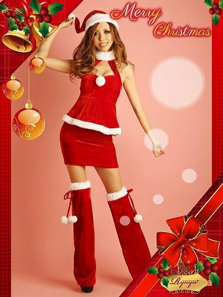 【訳あり!アウトレット半額!】移染有【即納】【サンタコスプレ!!】クリスマス!ポンポン付き胸盛りホルターペプラムサンタドレスワンピ