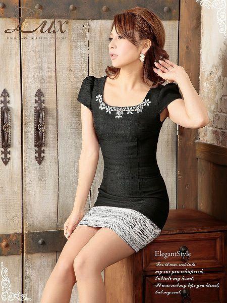 【BELSIA LUX】バイカラーMIXツイード袖付きワンピース/ツイードミニドレス