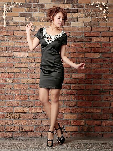 上質!ぎっしりパール美elegant袖付きサテンミニドレス