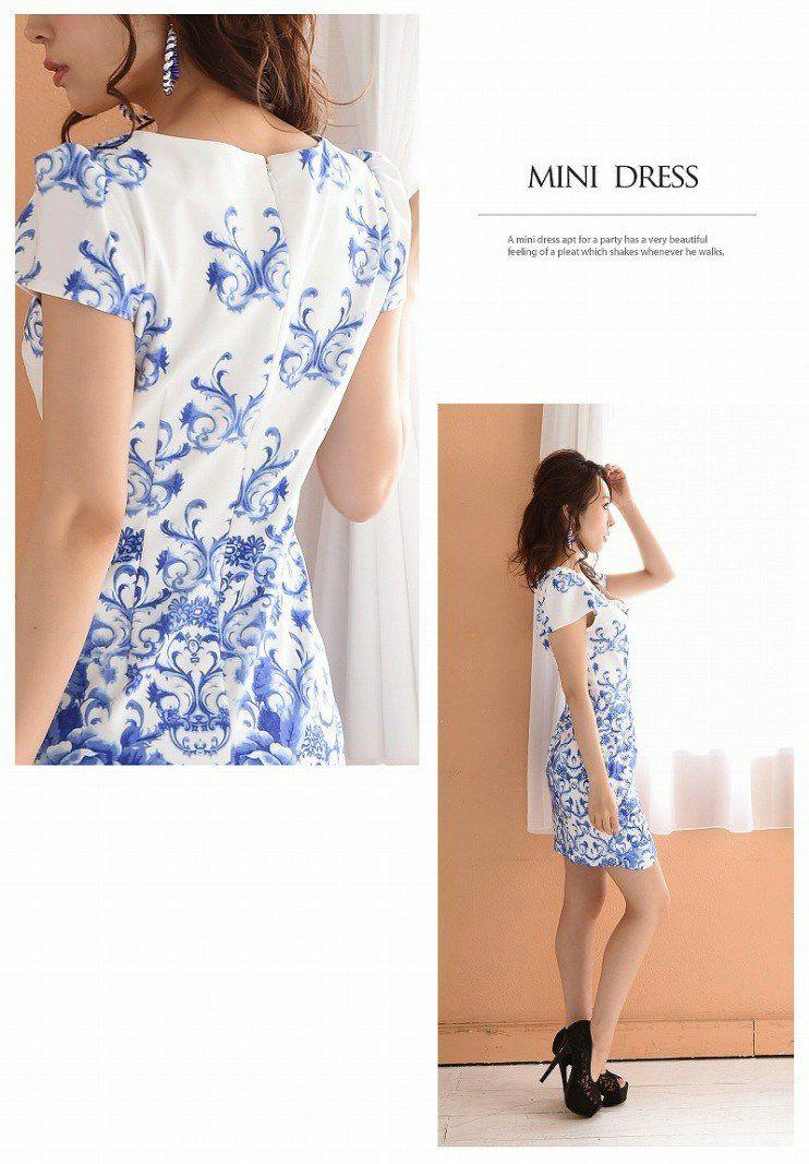 【BelsiaLux】爽パネル風花柄袖付ミニドレス 上質スカラップストレッチタイトキャバミニドレス
