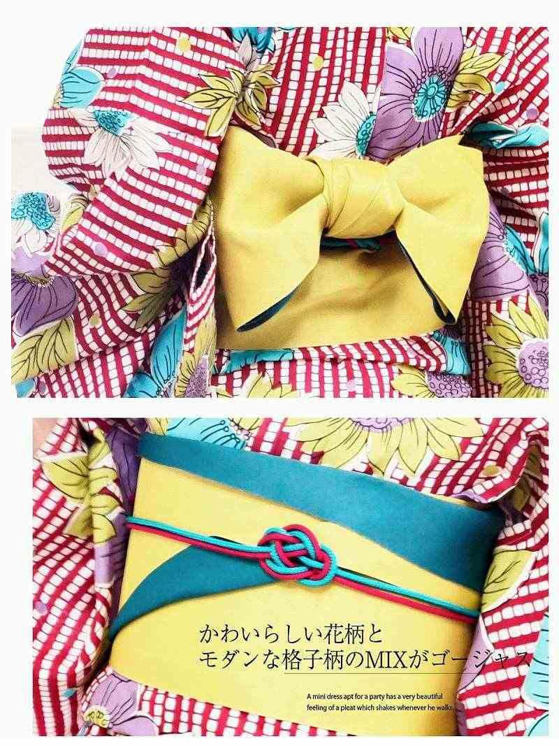 【即納】【キャバ浴衣3点セット】レトロポップ花柄×格子柄キャバ浴衣 レトロモダン柄レディースゆかた