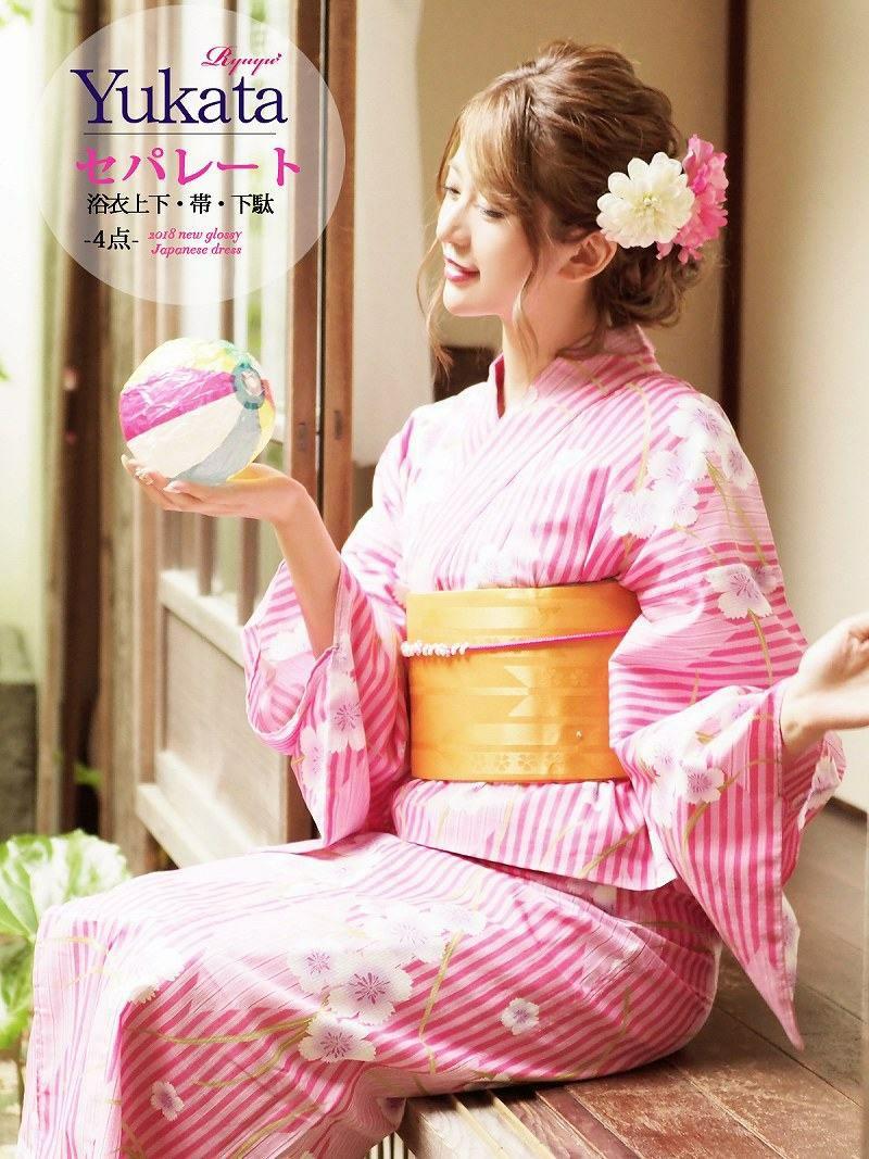 【即納】二部式浴衣4点セット!!桜×矢絣縞キャバ浴衣 丸山慧子 着用浴衣 お祭りやイベントで活躍セパレート浴衣