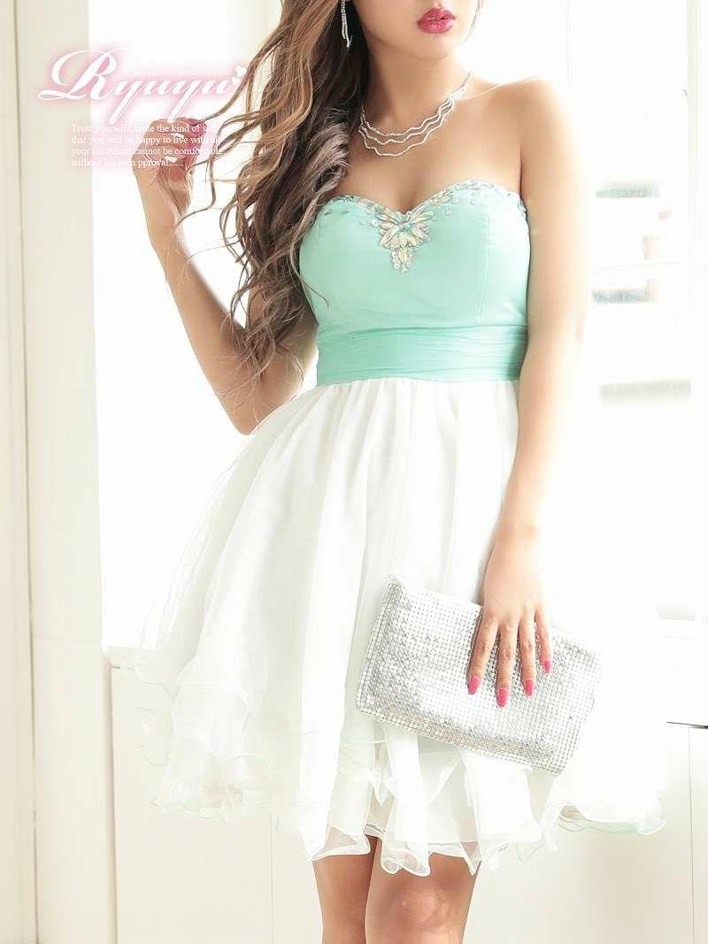 華やかチュールAラインミニドレス【Ryuyu】【リューユ】バイカラーベアキャバクラドレス