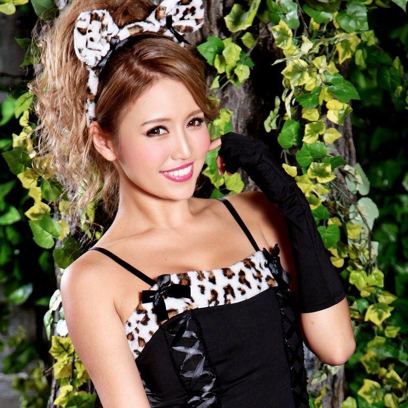 【即納】【キャバコスプレ!!】キャットウーマン!豹柄レオパードワンピース猫耳コスプレ3点SET