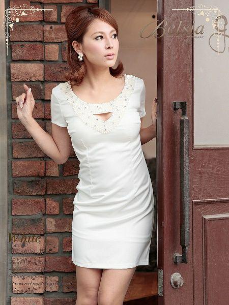 【訳あり!アウトレット半額!】上質!ぎっしりパール美elegant袖付きサテンミニドレス