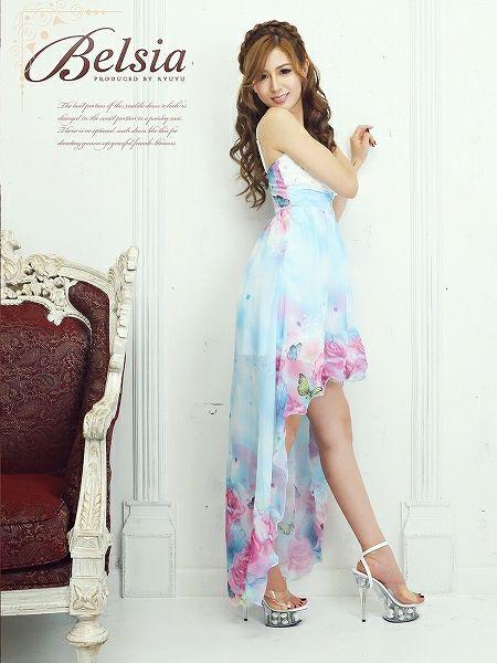 【訳あり!アウトレット半額!】【BELSIA】薔薇花柄前ミニINロングテールシフォンロングドレス