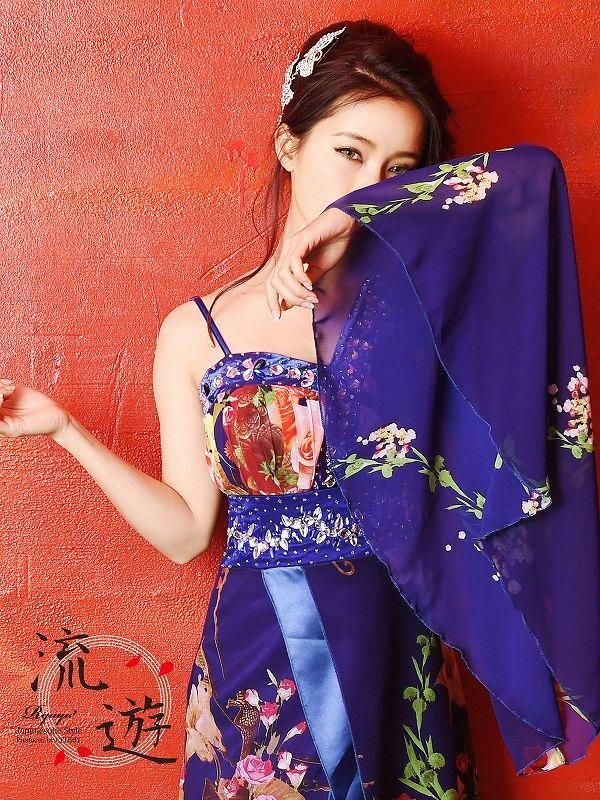 【流遊】キャバ花魁!ワンショルシフォン和柄ロングドレス 尾崎紗代子 着用ドレス【Ryuyu】キャバクラ着物ドレス