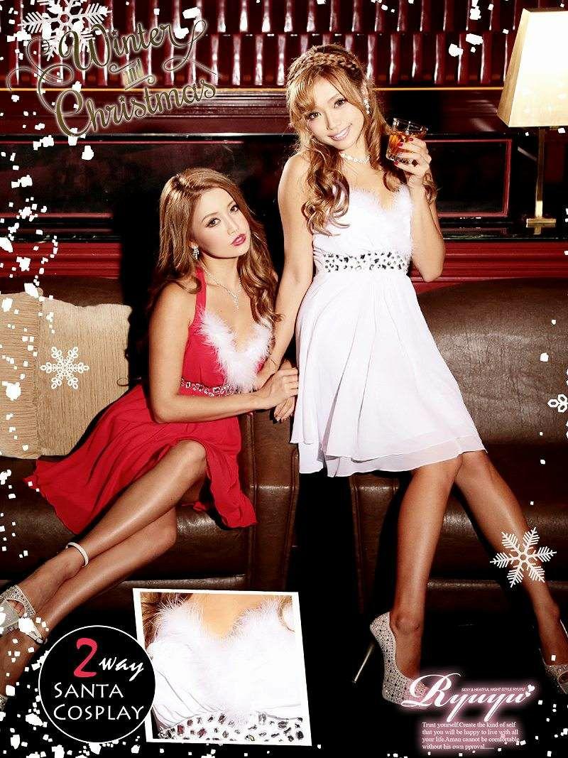 【即納】 白クリスマスドレス♪ 2way◎ ファー取外しok シフォンティアードミニドレス   2点set!キャバドレス