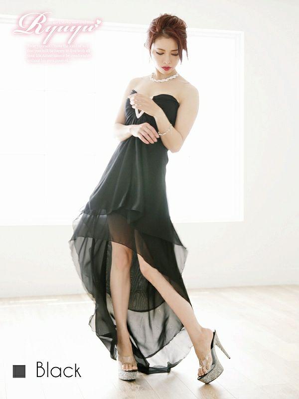 【尾崎紗代子ちゃん着用ロングドレス】煌めき【V】バックルstone*ふわカスケード脚魅せシフォンロングドレス-black