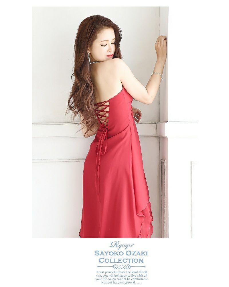 【尾崎紗代子ちゃん着用ロングドレス】煌めき【V】バックルstone*ふわカスケード脚魅せシフォンロングドレス-red