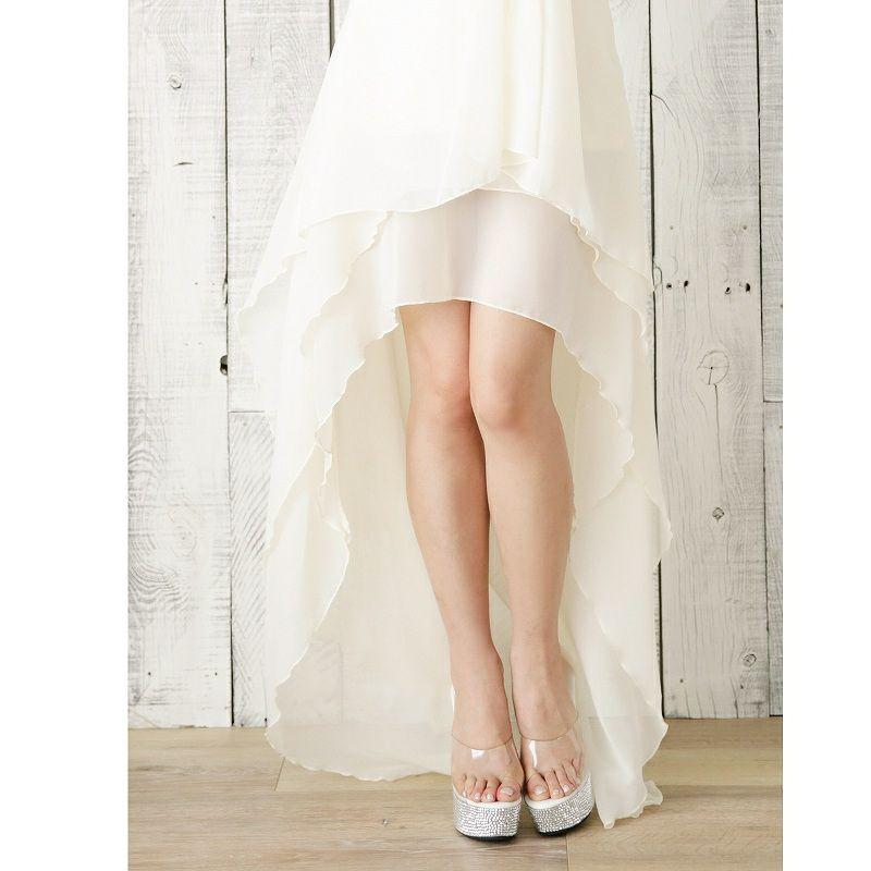 煌めき【V】バックルstone*ふわカスケード脚魅せシフォンロングドレス/姉ageha青木りえ(あおきりえ)ちゃん着用ロングドレス-white