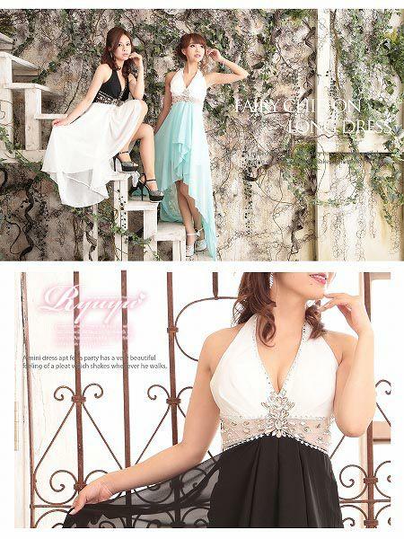 【BELSIA】ビビッドカラーで悩殺Elegantな配色ホルター脚魅せテールカットシフォンロングドレス-white