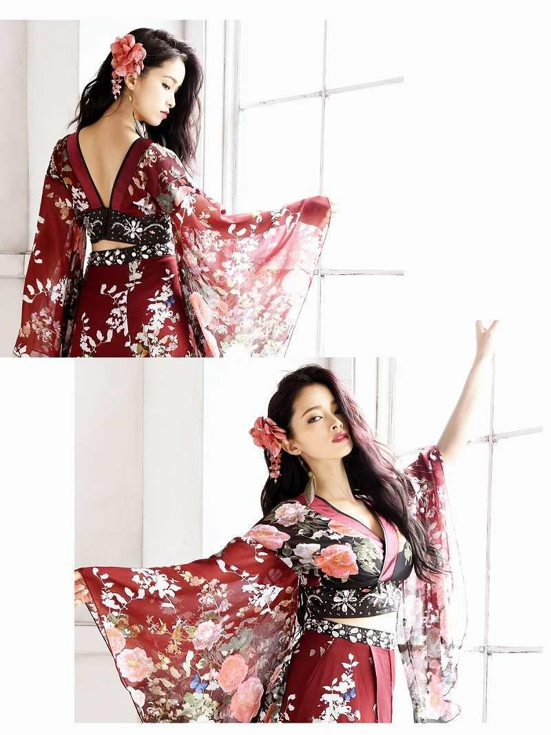 【流遊】花魁!お腹魅せsexyな振袖シフォン2p着物ロングドレス 尾崎紗代子 着用ドレス【Ryuyu】キャバクラ和柄ロングドレス