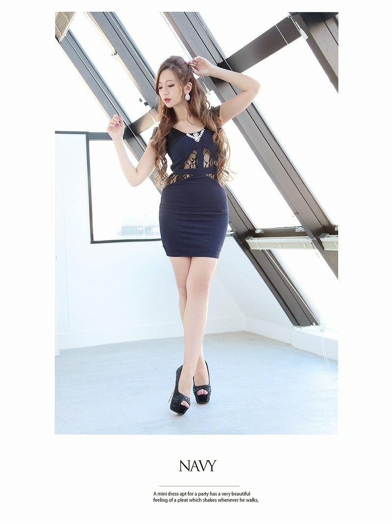 sexyお腹透けレースミニドレス 丸山慧子 着用キャバドレス【Ryuyu】【リューユ】袖付きタイトキャバクラドレス