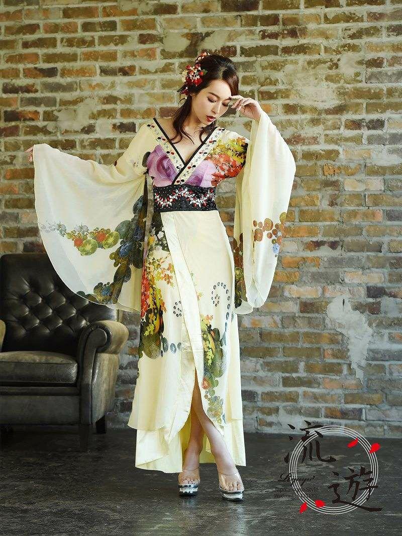 【流遊】花魁ドレス!和柄シフォン振袖着物ドレス【Ryuyu】花魁キャバクラロングドレス 黄