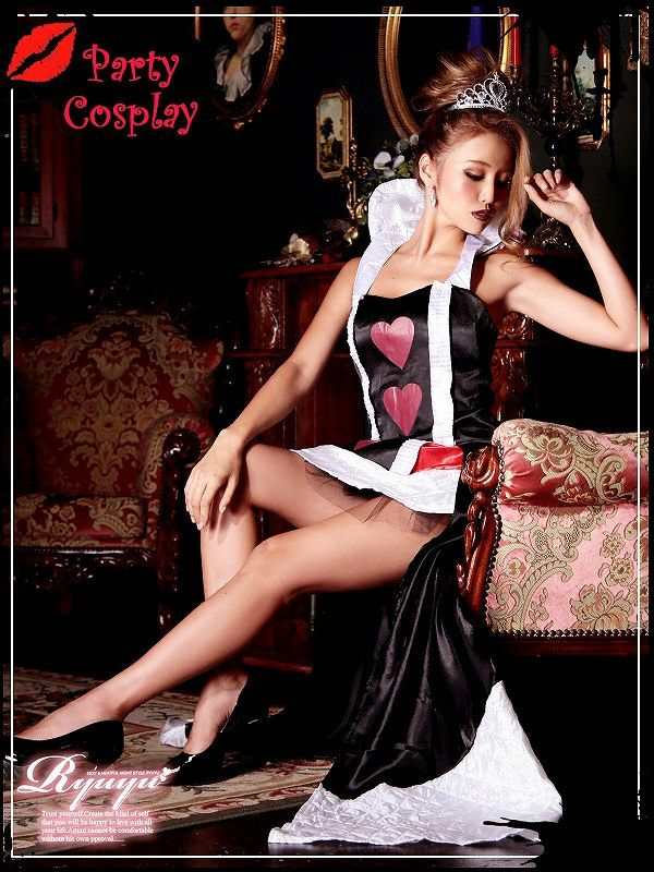 【訳あり!アウトレット半額!】【キャバコスプレ!!】ハートの女王!不思議の国のアリス ロングドレスで優雅なハートのクイーンコスプレ2点SET