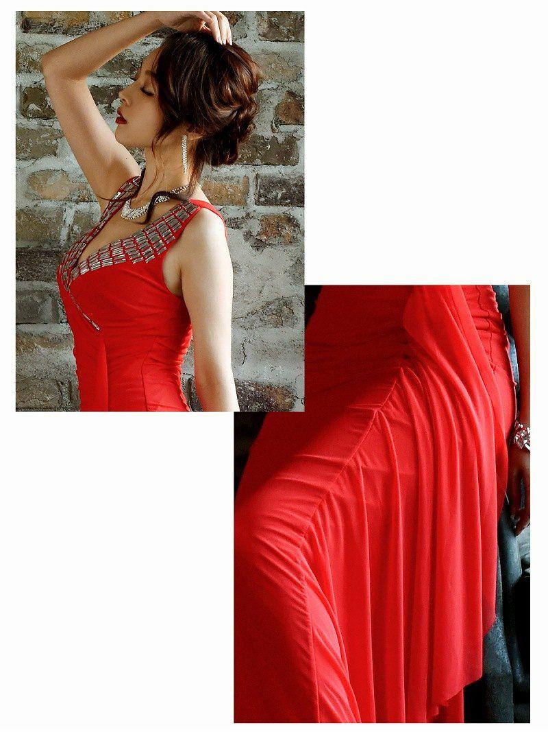 優美な極上celebな赤ロングドレス 【Ryuyu】【リューユ】メッシュレースキャバドレス 赤