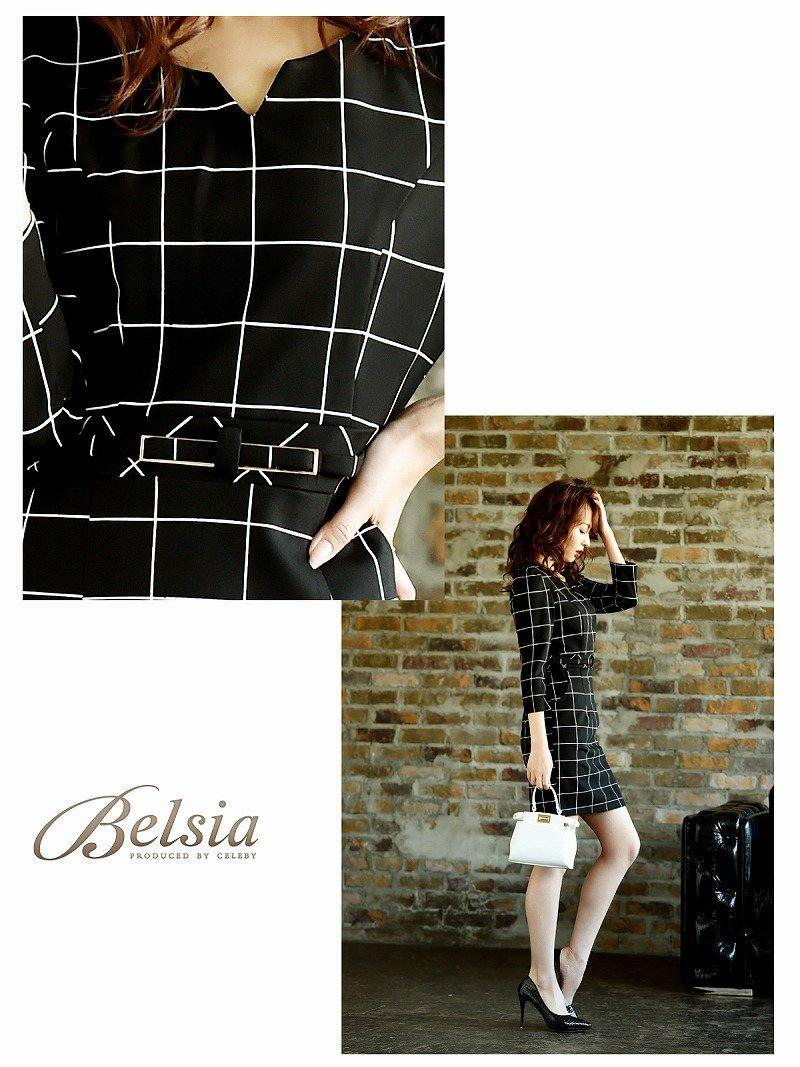 【Belsia】昼夜OK! 格子チェック柄袖付きキャバワンピース 七分袖膝丈ワンピース【ベルシア】