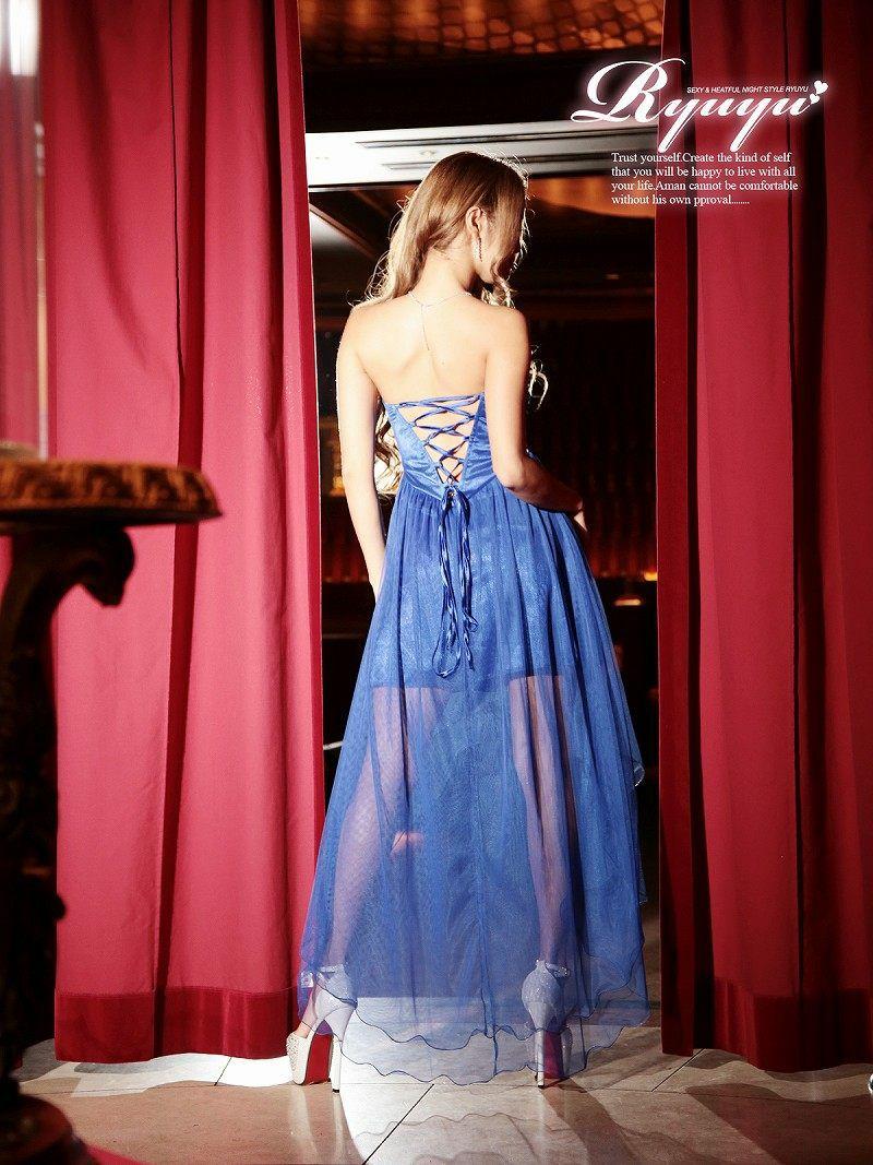 ゴージャスボリューム前ミニロングドレス【Ryuyu】【リューユ】ティアードテールカットキャバクラロングドレス