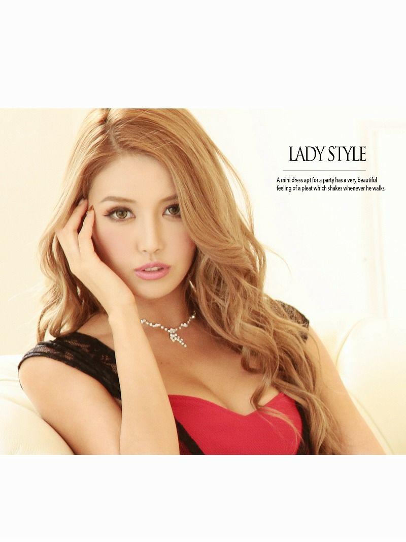 妖艶薔薇柄Sexyレース 背中透けペプラムキャバドレス【Ryuyu】【リューユ】ストレッチタイトミニドレス