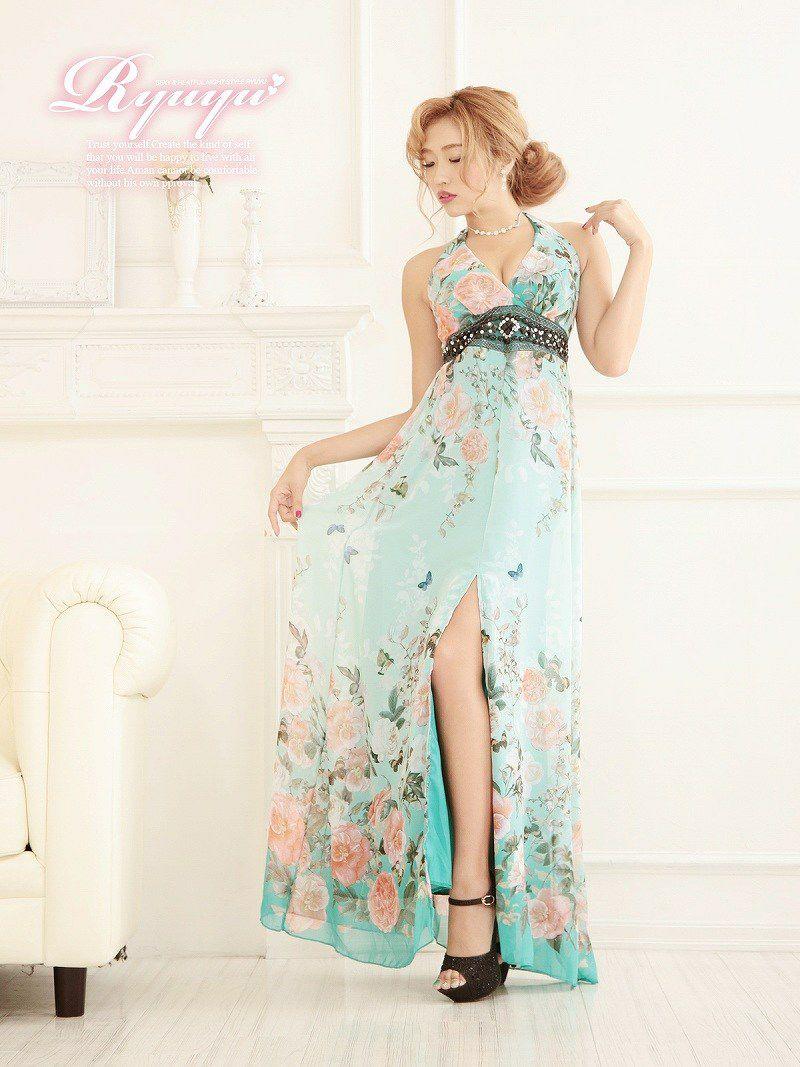極潤なでしこ花柄ホルターシフォンロングドレス【Ryuyu】【リューユ】和柄キャバクラドレス