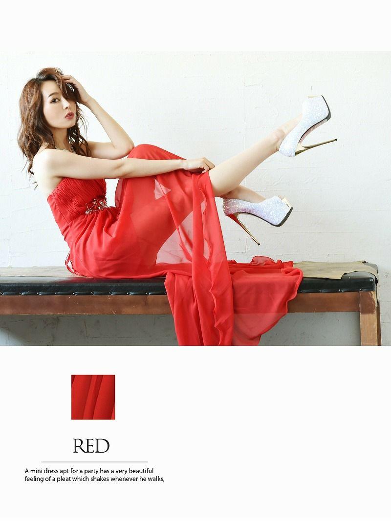 妖姫エアリーシフォン前ミニロングドレス 【Ryuyu】【リューユ】脚長効果キャバドレス 赤
