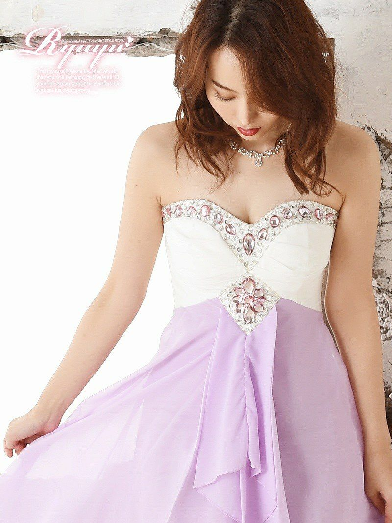 極美バイカラー前ミニシフォンロングドレス 【Ryuyu】【リューユ】キャバクラ ドレス 紫