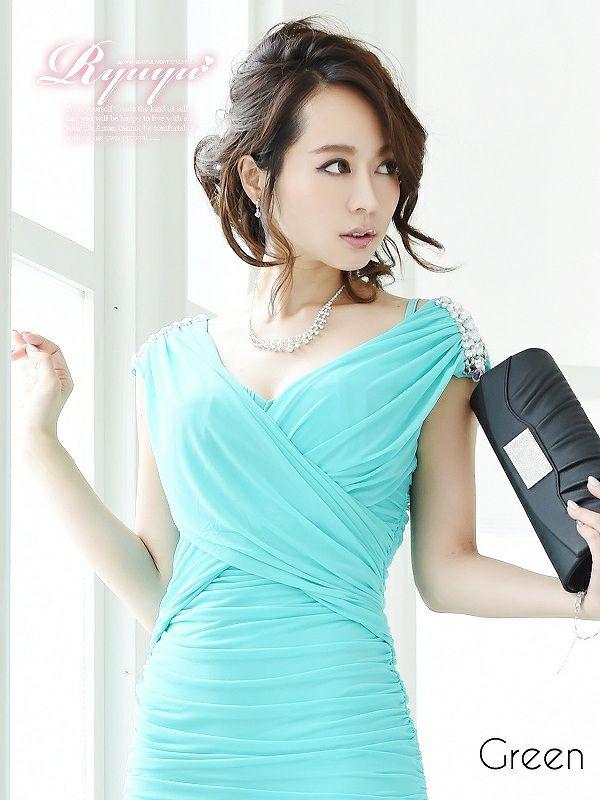 着心地○ ストレッチ 5色ミニドレス ryuyu リューユキャバクラドレス ドレープ美スレンダーミニドレス