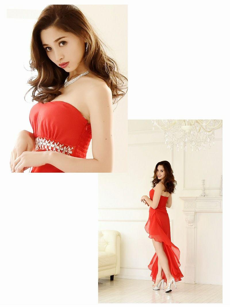 sexy!前ミニロングドレス 【Ryuyu】【リューユ】シフォン ベアロングキャバクラドレス 赤