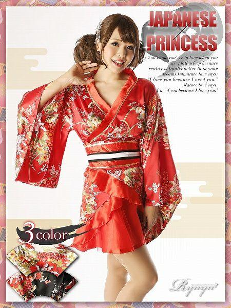 【流遊】 着物ミニドレス*和柄なでしこな裾ティアード乙女ワンタッチ着物ミニ-red