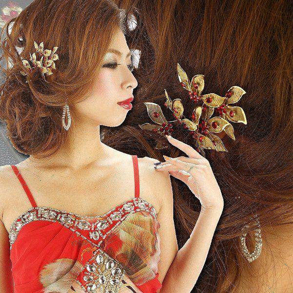 和装*和柄着物ドレスに♪Goldで煌めく真紅ビジューヘアーアクセ6本set