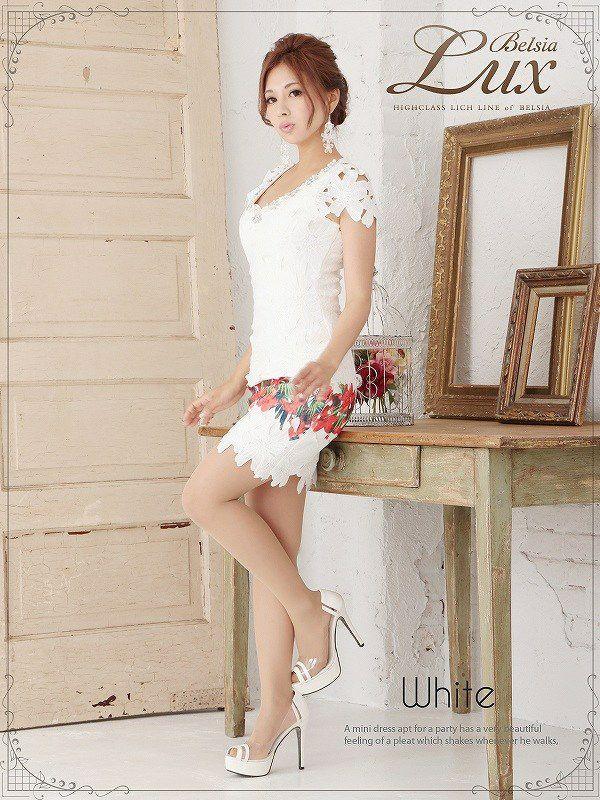 【BELSIA LUX】上質Rich大判flower柄クロシェレース袖付ミニドレス/タイトキャバドレス-white