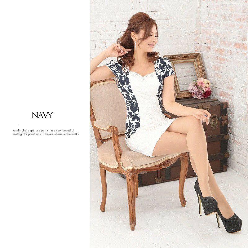 【BELSIA LUX】上質Flower刺繍レース袖付ミニドレス/ボレロ風キャバドレス