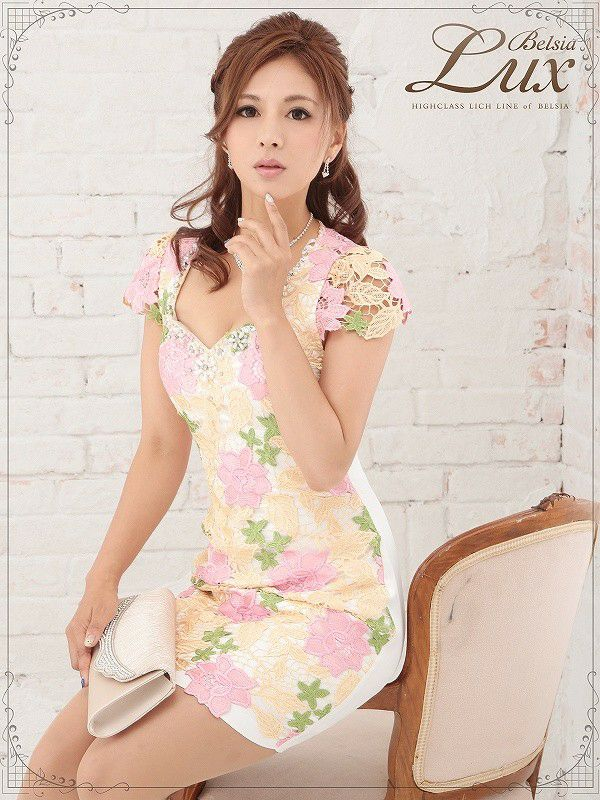 【BELSIA LUX】華やか花柄フラワーパウチレースミニドレス/袖付きキャバドレス