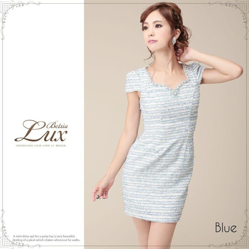 【BELSIA LUX】スパンMIX上品ボーダーツィードミニドレス/袖付キャバドレス