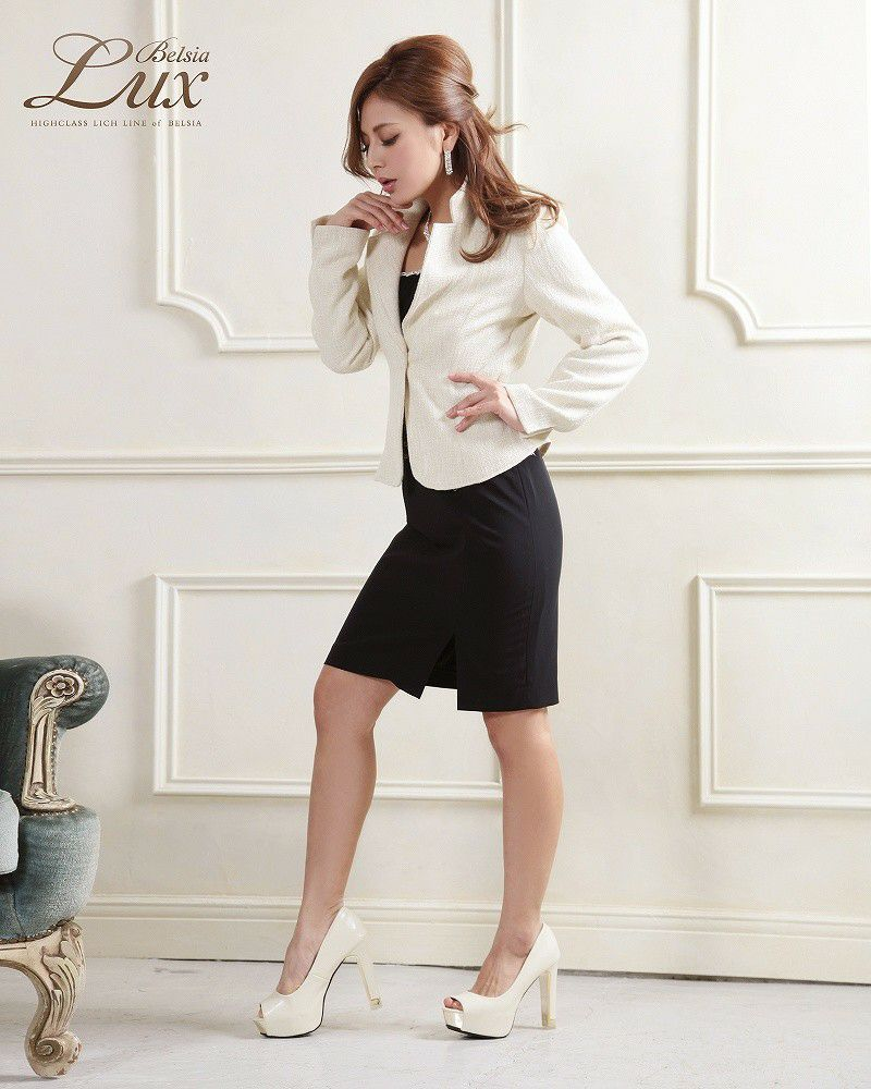 結婚式・お呼ばれに!【BELSIA LUX】高級ソフトツイード膝丈スーツ ryuyu ベルシアリュクス ツイードフォーマルスーツ 式スーツにも◎,式スーツ 女性 フォーマル