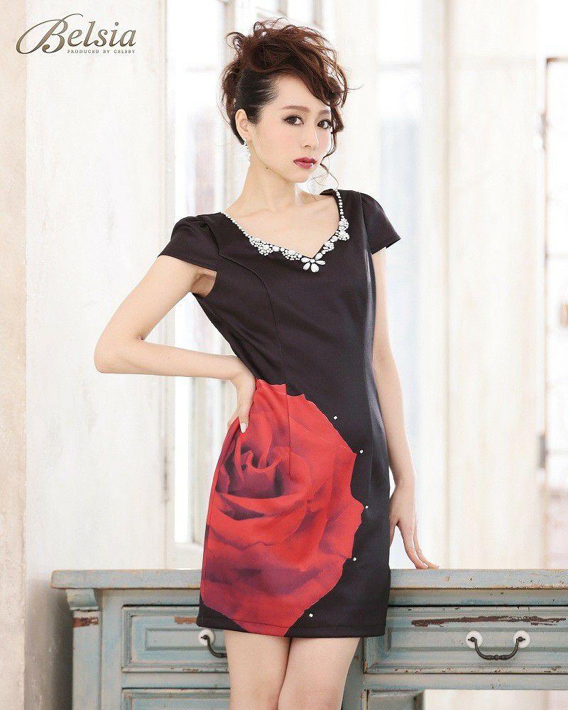 【BELSIA】ゴシックRose薔薇柄キャバドレス ベルシア ryuyu 妖艶花柄袖付タイトミニドレス