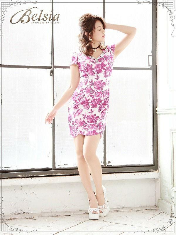 【BELSIA】爽花柄上質キャバタイトミニドレス ベルシア ryuyu 袖付ストレッチキャバドレス