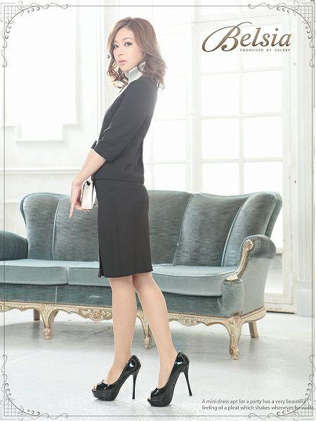 結婚式・お呼ばれに!【BELSIA】フォーマル◎スタンドカラー配色パイピング七分袖スーツ/膝丈スーツ